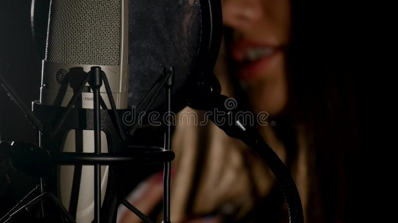Microphone on a stand located in a music studio recording booth under low key light.  royalty free stock image