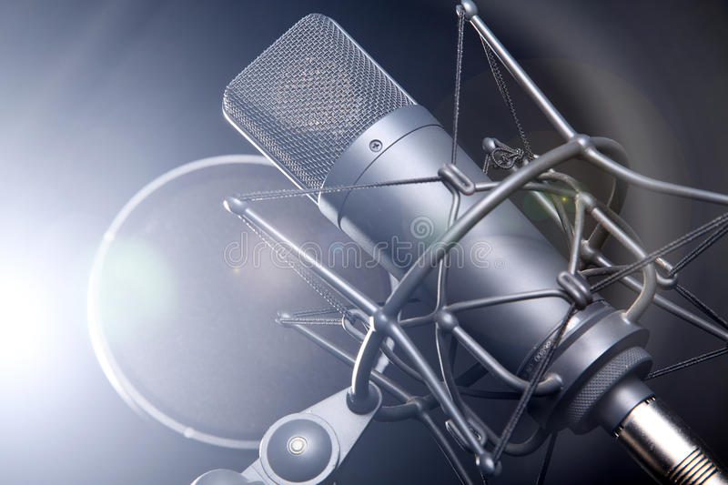 Microphone on stand stock image