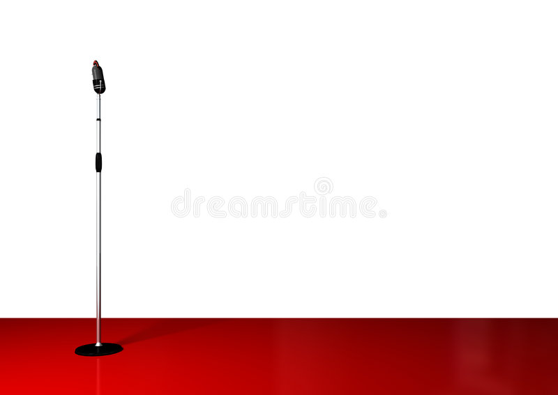 Microphone With Stand On White stock illustration