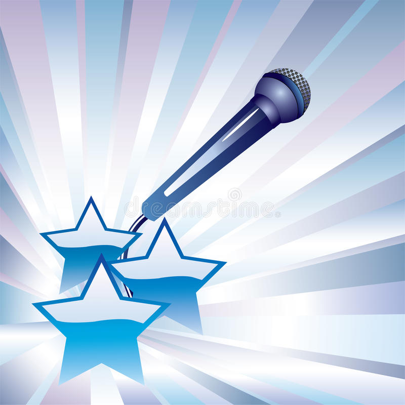 Microphone and stars. Vector microphone and three stars on a background of blue and pink rays royalty free illustration