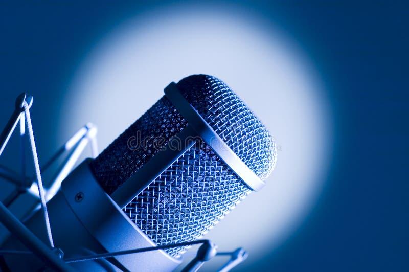 Microphone in studio. stock photo