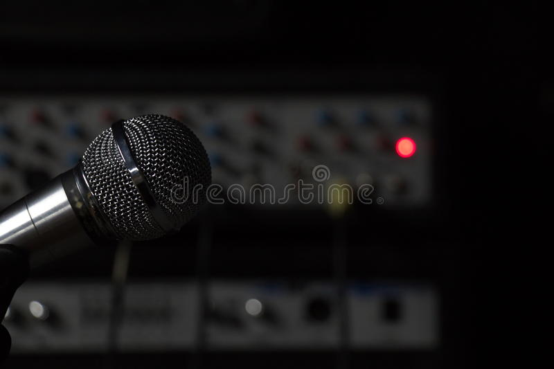 The microphone in the Studio royalty free stock photo