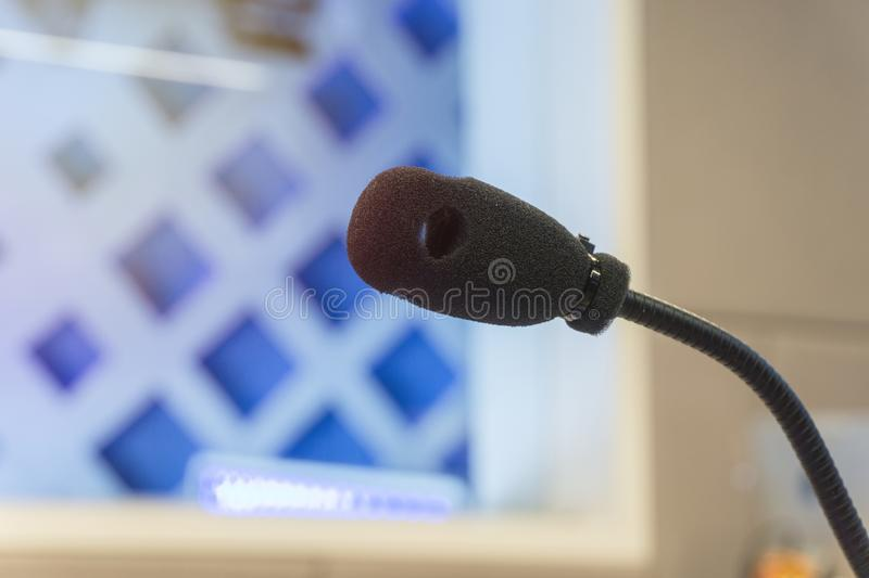 Microphone in studio for voice actor, radio broadcasting stock photos