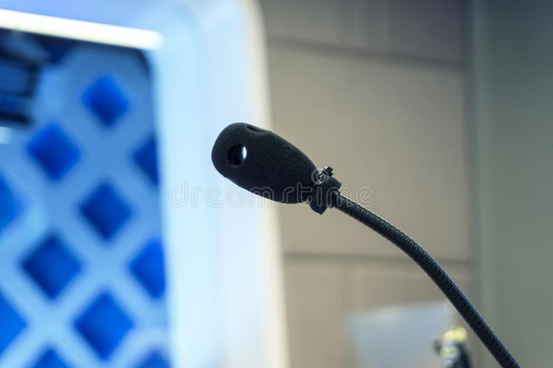 Microphone in studio for voice actor, radio broadcasting. TV studio microphone., microphone in studio for voice actor, radio broadcasting, post production royalty free stock photography