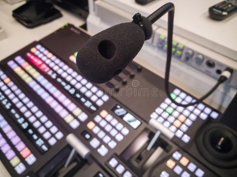 Microphone in studio for voice actor, radio broadcasting. TV studio microphone., microphone in studio for voice actor, radio broadcasting, post production royalty free stock images