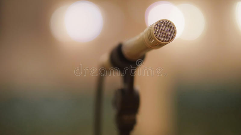 Microphone at theatre or opera scene - concert hall. Close up stock images