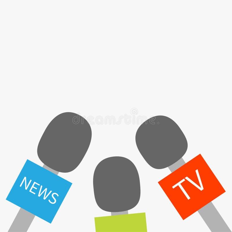 Microphone TV news set Reparter journalism concept Flat design style. Vector illustration vector illustration