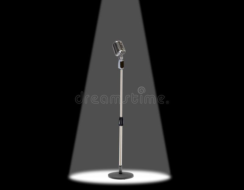 Download Microphone under spotlight stock illustration. Image of instrument - 14830560