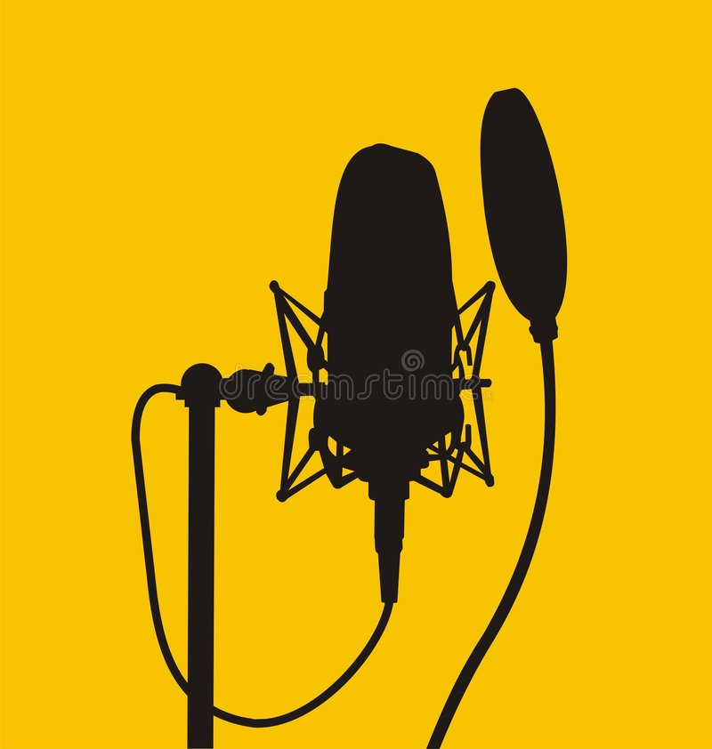 Microphone (Vector). Vector silhouette of a studio microphone royalty free illustration