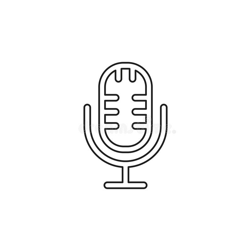 Microphone vector icon. Simple Microphone. Thin line pictogram - outline editable stroke royalty free illustration