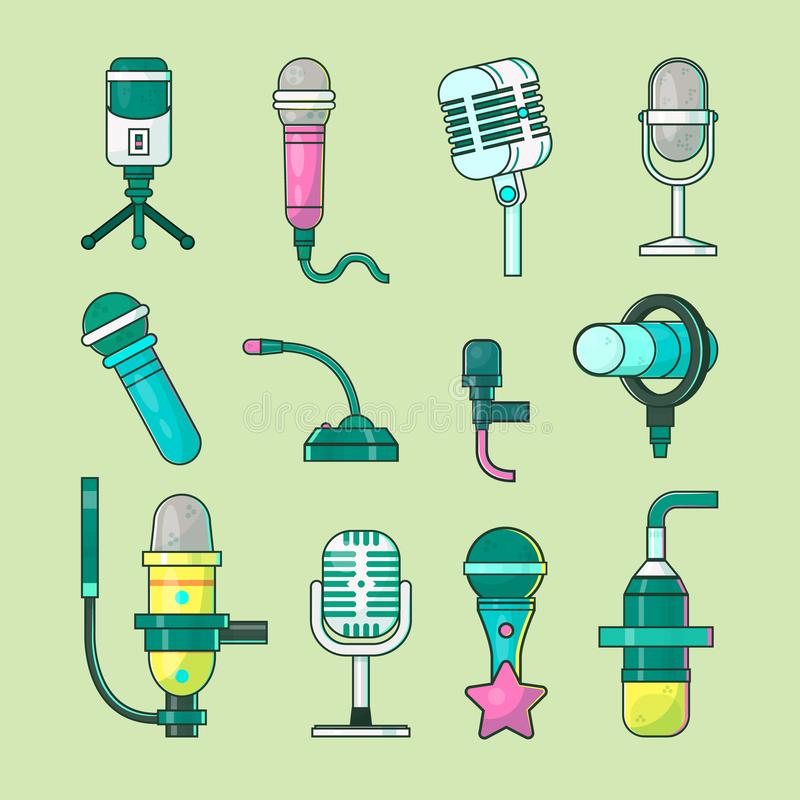 Microphone vector icons mike telecommunication transmitter for tv, radio, music voice record professional equipment. vector illustration