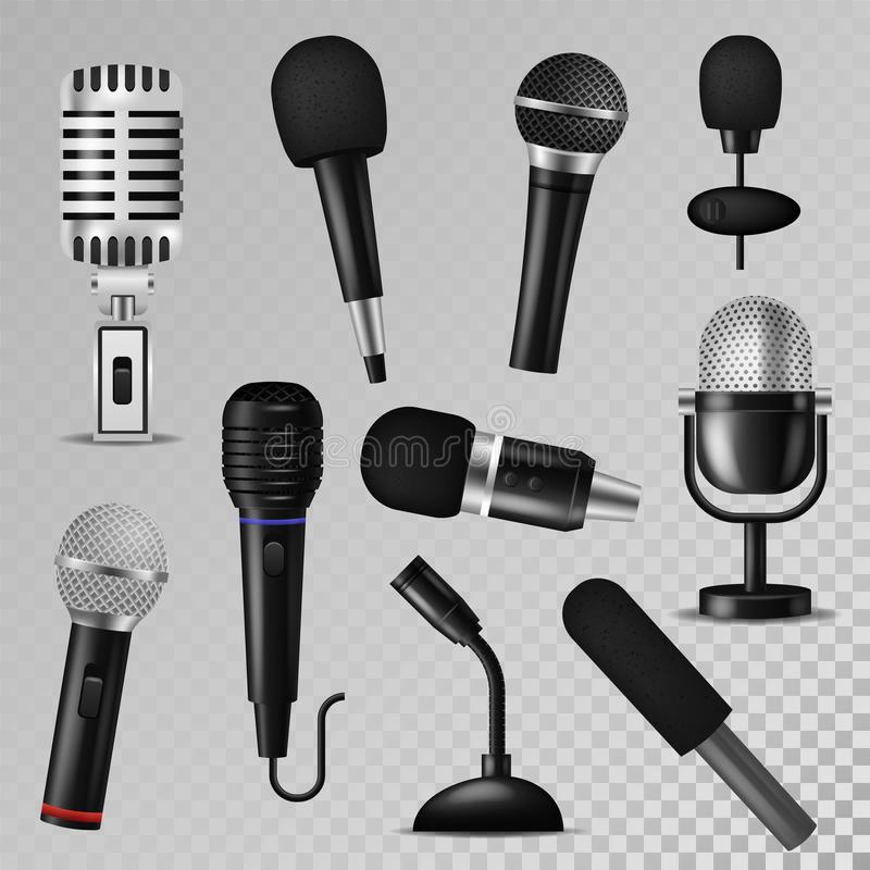 Microphone vector sound music audio voice mic recorder karaoke studio radio record phonetic vintage old and modern royalty free illustration