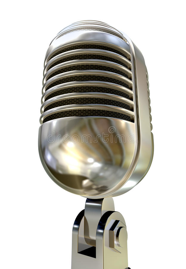 Microphone Vintage Isolated White stock illustration