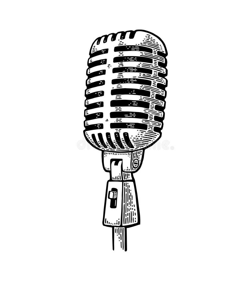 Microphone. Vintage vector black engraving illustration. For poster, web. Isolated on white background royalty free illustration