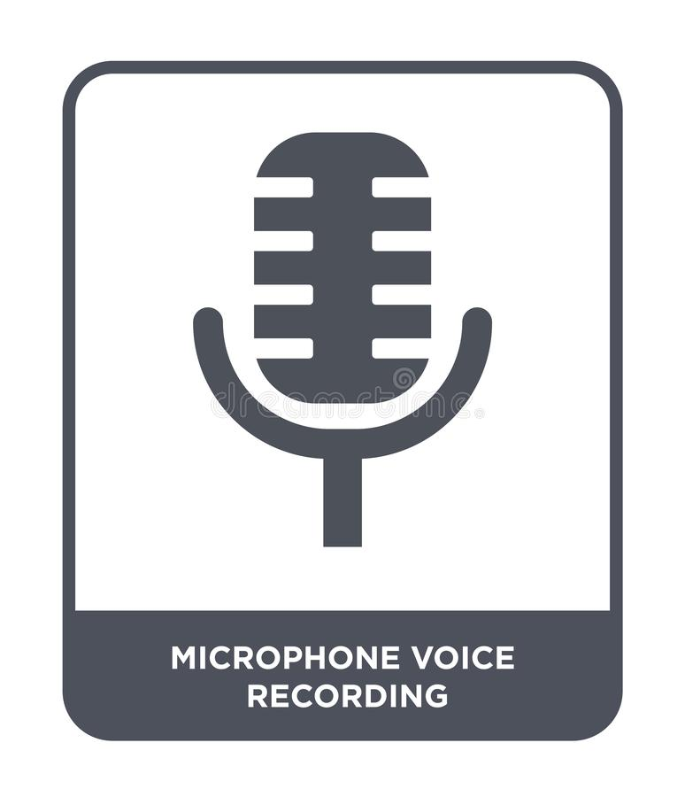 Microphone voice recording icon in trendy design style. microphone voice recording icon isolated on white background. microphone. Voice recording vector icon stock illustration