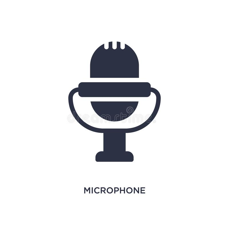 microphone voice recording icon on white background. Simple element illustration from music and media concept stock illustration
