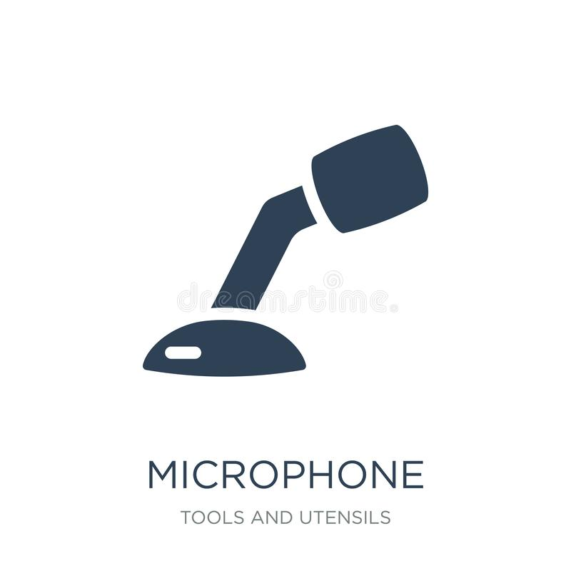 Microphone voice tool icon in trendy design style. microphone voice tool icon isolated on white background. microphone voice tool. Vector icon simple and modern royalty free illustration