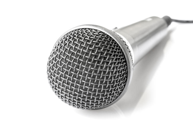 Microphone on white background. Microphone with cable on white background stock images