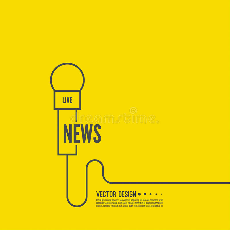 Microphone with a wire. Symbol breaking news on TV and radio. Journalism concept. Live news template. Journalist, interview, reporter, press, interviewer, mass vector illustration