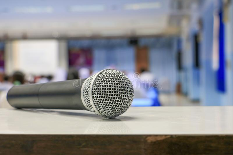 Microphone wireless on the table in meeting room seminar stock images