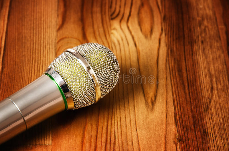 Download Microphone On Wooden Background Stock Image - Image: 28570761