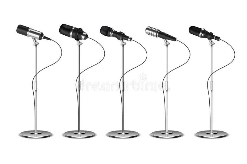 microphones Équipement audio d'amplification de voix Microphone d'émission, de concert et d'entrevue sur le support Vecteur d'iso illustration libre de droits