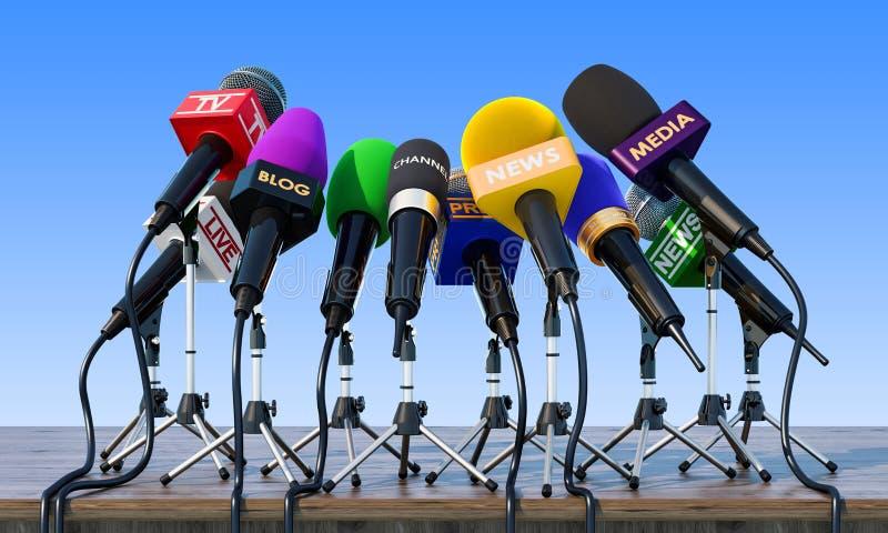 Microphones, conférence de presse ou concept d'entrevue sur l'en bois illustration libre de droits