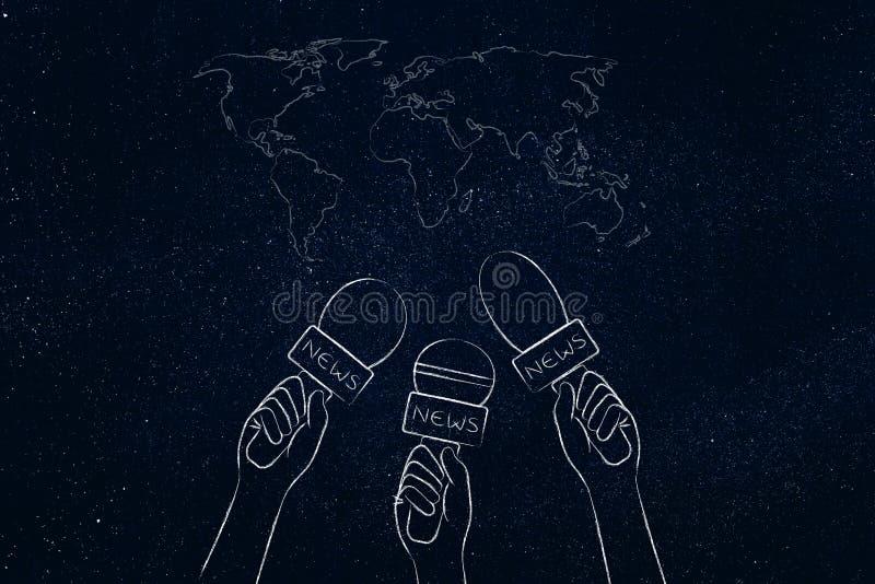 Microphones de journalistes sur la carte du monde, le reportage et les titres Co illustration de vecteur