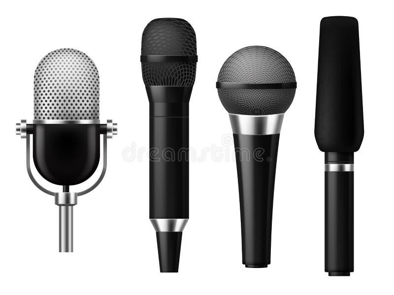 Microphones réalistes Ensemble d'exposition de studio de journaliste d'entrevue de réunion de microphone de concert de voix de mé illustration de vecteur