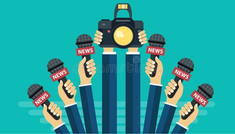 Microphones in reporter hands. Set of microphones and camera isolated on green background. Mass media, television royalty free illustration
