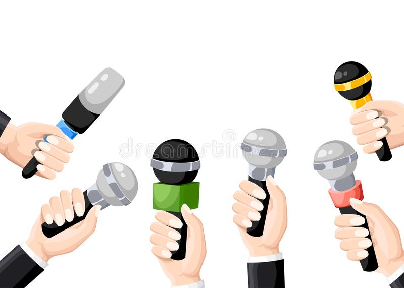 Microphones in reporter hands. Set of microphones isolated on white background. Television, interview. Flat illustration. b stock illustration