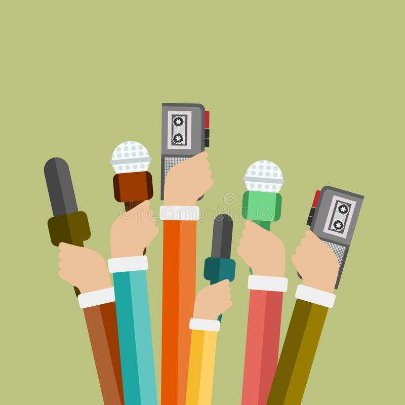 Microphones in reporter hands. Set of microphones and recorders isolated on blue background stock illustration