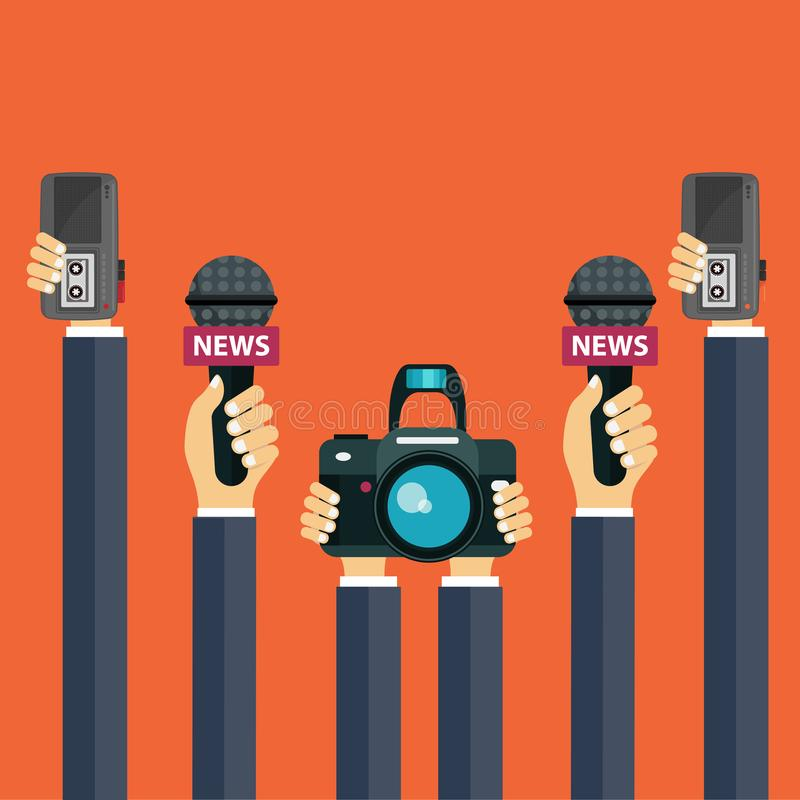 Microphones in reporter hands. Set of microphones and recorders in hands. Mass media, television, interview, breaking news stock illustration
