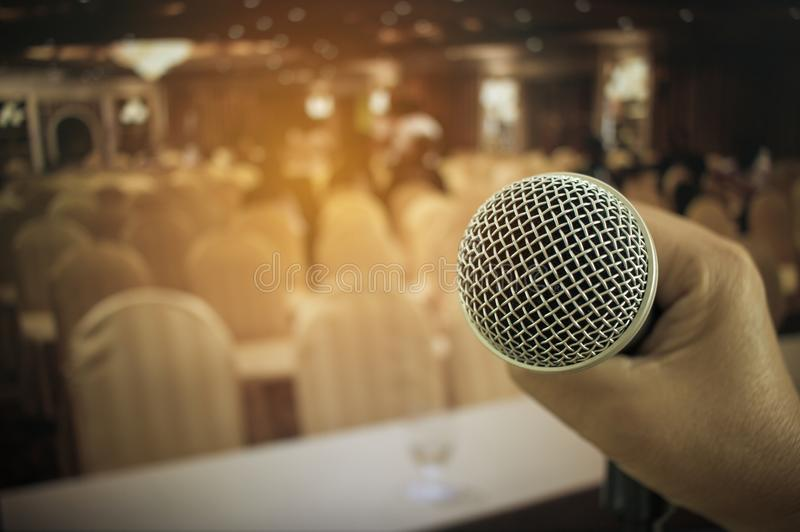 Microphones in seminar room, talking speech in conference hall l stock images