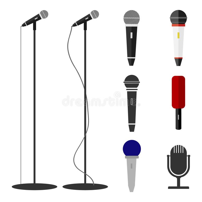 Microphones, a set of microphones. Standing microphone. Flat design, illustration royalty free illustration