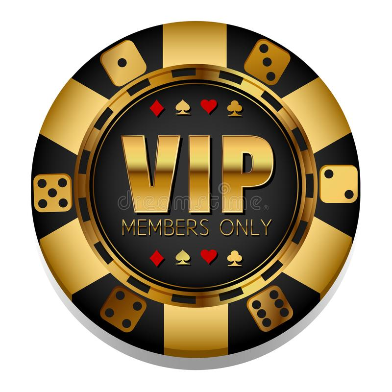 Microplaqueta colorida do casino do vetor do VIp gambling ilustração stock