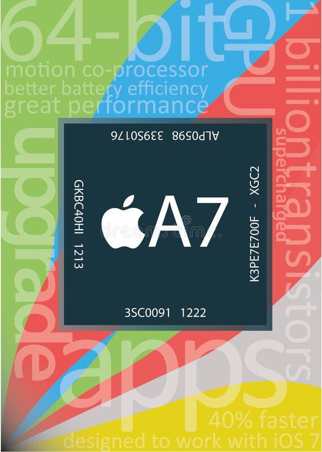 Microplaqueta de Apple A7 ilustração stock