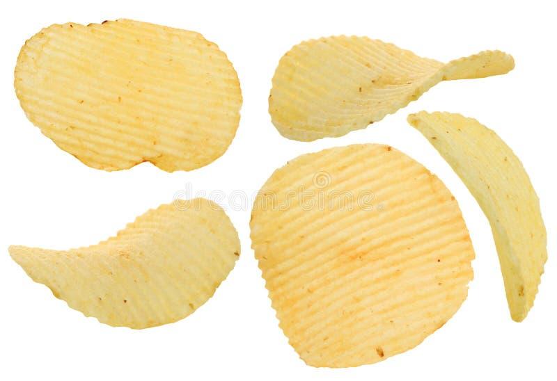 Microplaqueta de batata friável isolada fotografia de stock