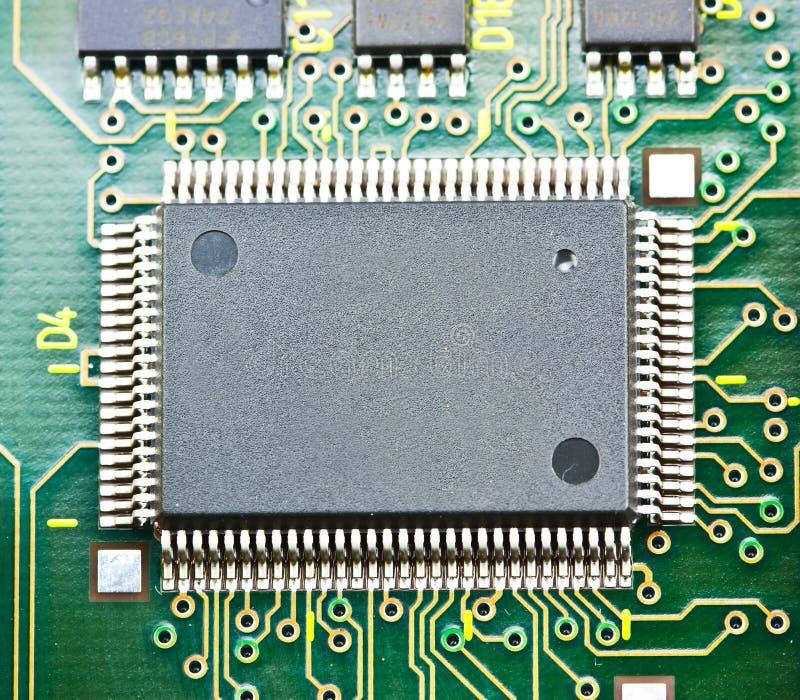 Microplaqueta de circuito eletrônico a bordo foto de stock