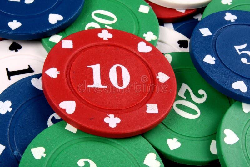 Microplaqueta de jogo do vermelho dez imagem de stock royalty free