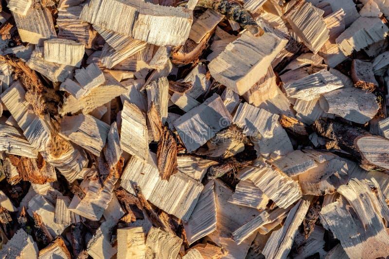 Microplaqueta de madeira Madeira recicl processamento Eco-amigável fotografia de stock