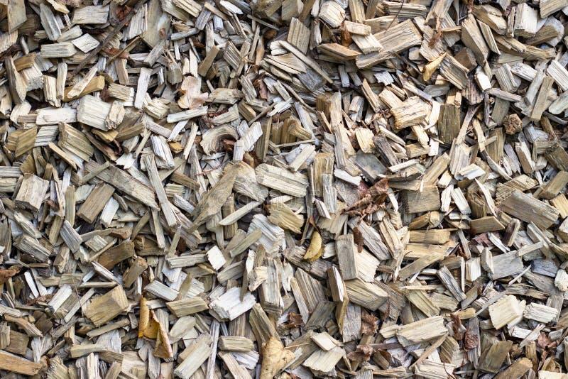 Microplaqueta de madeira Madeira recicl processamento Eco-amigável Utilização da madeira fotos de stock