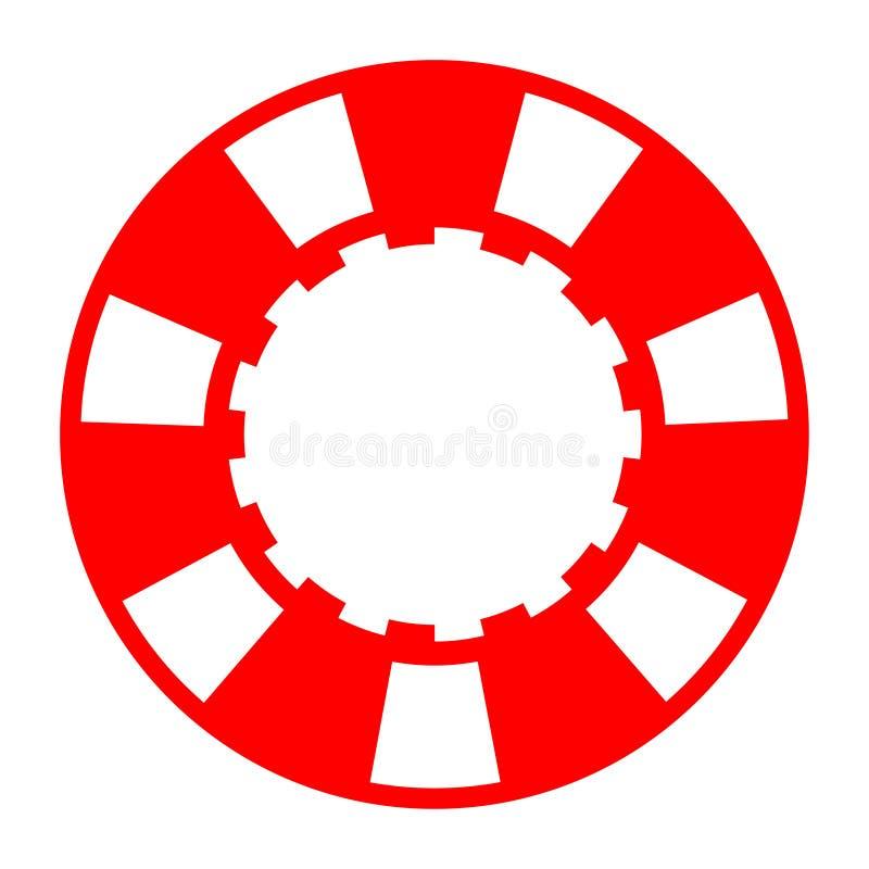 Microplaqueta de pôquer branca vermelha do casino ilustração stock