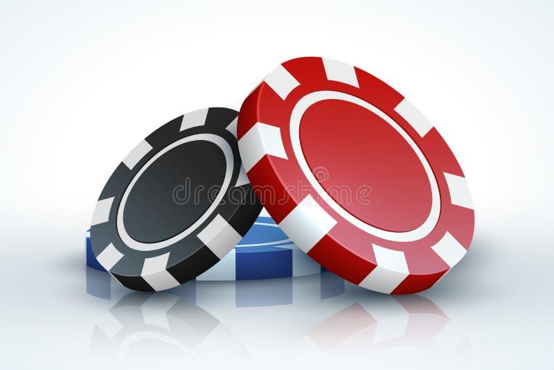 Microplaqueta de pôquer Casino que joga as microplaquetas 3D de jogo realísticas isoladas no conceito branco, em linha do jogo do ilustração do vetor