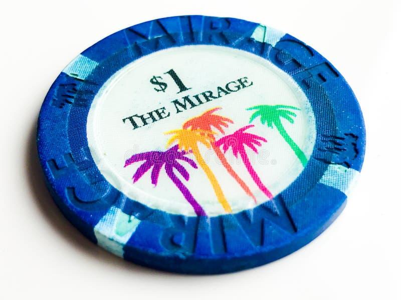 Microplaqueta de pôquer do casino $1 da miragem do vintage imagem de stock royalty free