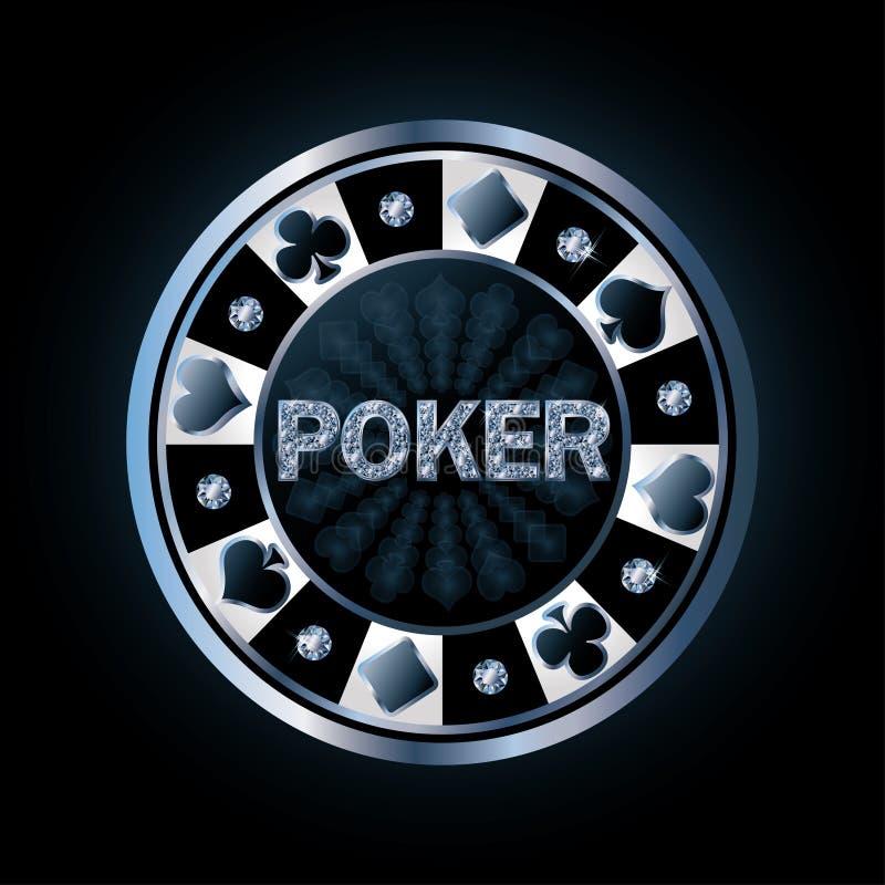 Microplaqueta de pôquer do diamante ilustração stock