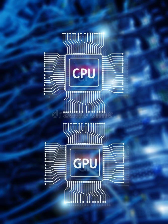 Microplaqueta de processador do processador central e do GPU sobre o fundo digital do datacenter imagens de stock royalty free