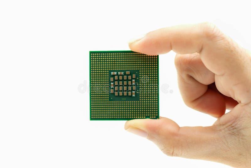 Microplaqueta de processador real?stica da opini?o da parte traseira do processador central ? disposi??o imagem de stock royalty free