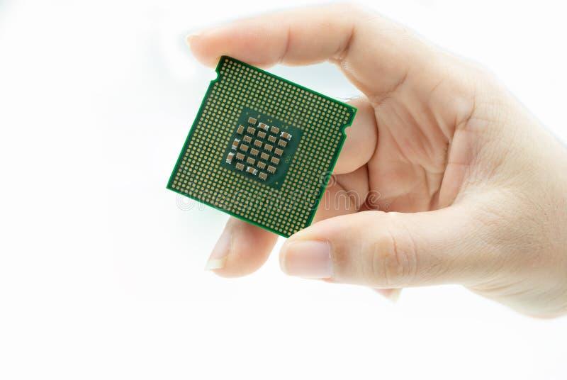 Microplaqueta de processador real?stica da opini?o da parte traseira do processador central ? disposi??o foto de stock royalty free