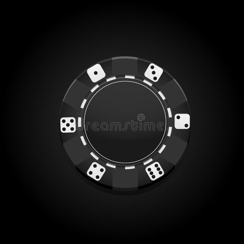 Microplaqueta do casino do preto do premuim do vetor gambling ilustração do vetor